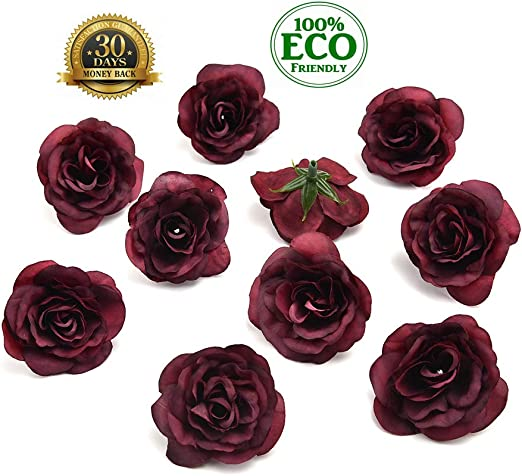 "6  Dark Pink Rose Artificial Silk Flower 2.0/""  Head Hair Clip Craft"