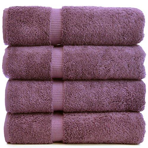 Luxury Hotel & Spa Towel Turkish Cotton (Bath Towel  - Set of 4, Plum)