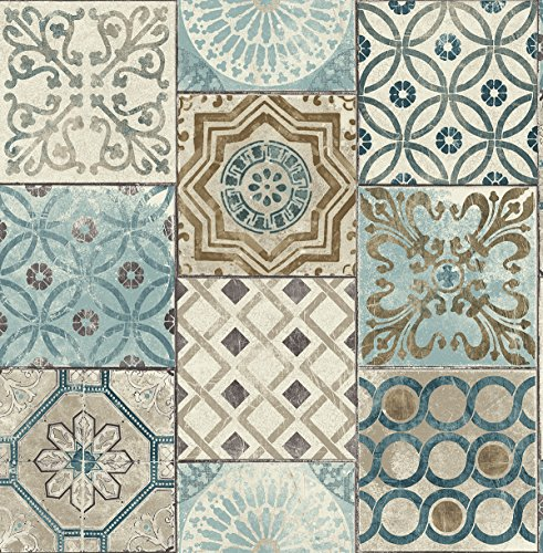 Moroccan Style Mosaic Wallpaper In Blue (blue, Copper & Gray)