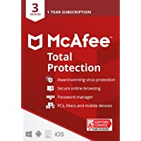 McAfee Total Protection 2021, 3 Device, Antivirus Internet Security Software, Password Manager, Privacy, 1 Year - Key…