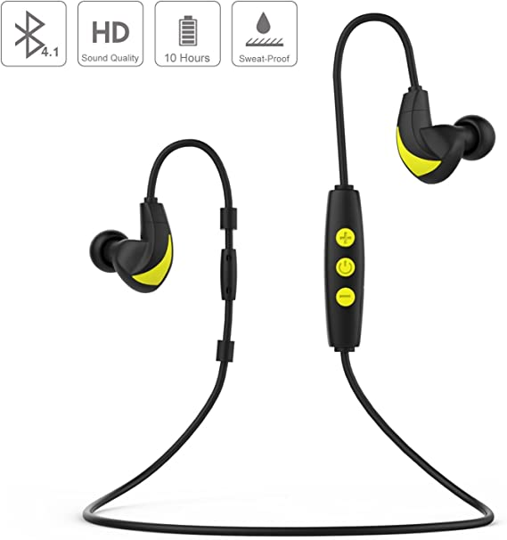 Amazon Com Ultra Long Battery Life Moko Bluetooth Earphones Sports Running Sweatproof Wireless Hifi Bluetooth Earbuds Headphones Headset With Microphone For Iphone Android Phone Black Yellow