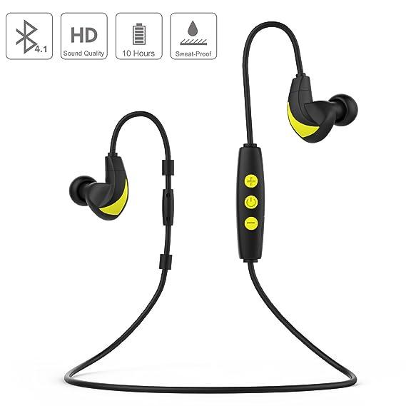 53b7316de95 [Ultra-Long Battery Life] MoKo Bluetooth Earphones, Sports Running  Sweatproof Wireless HiFi