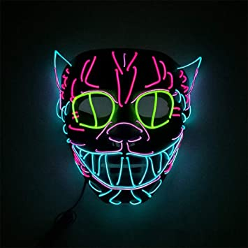 OHQ Halloween Neon Nightlife MáScara LED MáScaras Glow Scary Mask Ilumina La MáScara De Cosplay Grimace Festival: Amazon.es: Juguetes y juegos