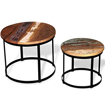 Festnight 2 Piece Wood Round Coffee Table Set Solid Reclaimed Wood Round,Antique  Style 19.7u0026quot