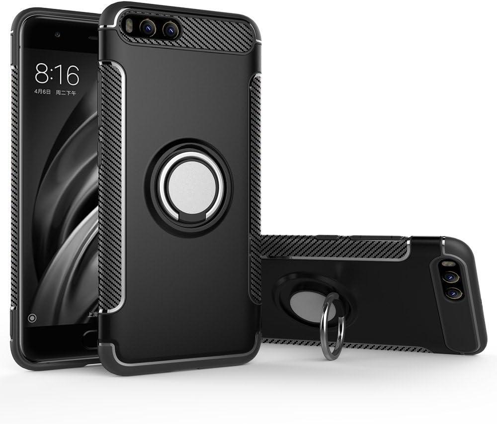 BLUGUL Funda Xiaomi Mi 6, Soporte Giratorio del Anillo de 360 Grados, Compatible con Soporte Coche Magnético, Case Cover para Xiaomi 6 Negro