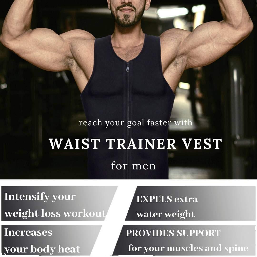b77208529fbb58 Amazon.com   Mens Waist Trainer Vest for Weightloss Hot Neoprene Corset  Body Shaper Zipper Sauna Tank Top Workout Shirt   Sports   Outdoors