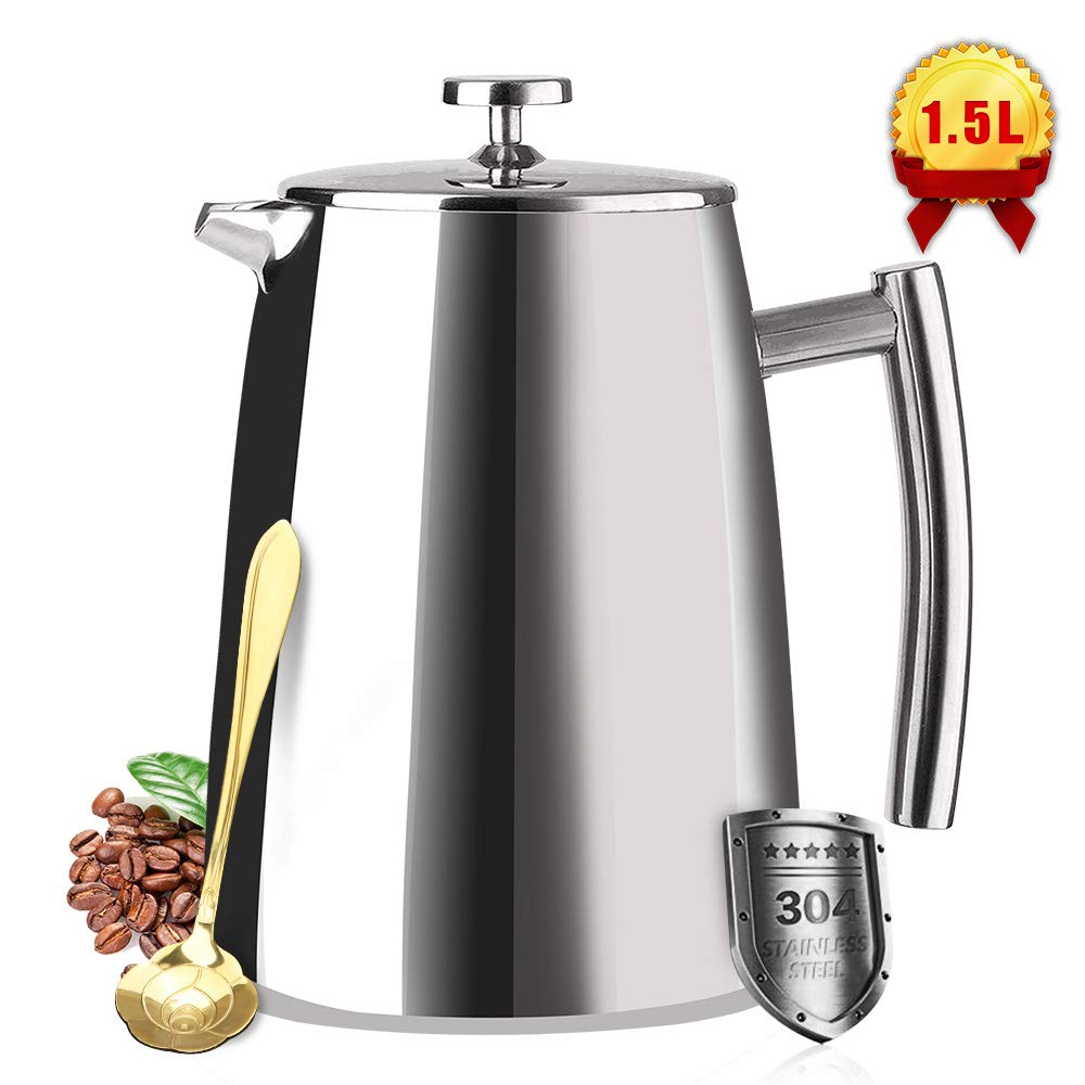 French Press Coffee Maker Double Walled Stainless Steel 50 Oz-1.5L Coffee Tea Maker with Extra Filter Screens, Dishwasher Safe 12 Cup