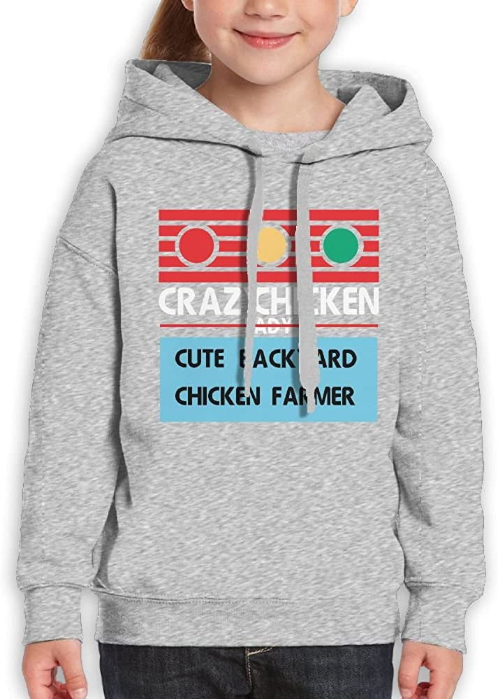 DTMN7 Crazy Chicken Lady Cute Backyard Chicken Farmer Unique Printed Crew Neck Blouses For Boy Spring Autumn Winter
