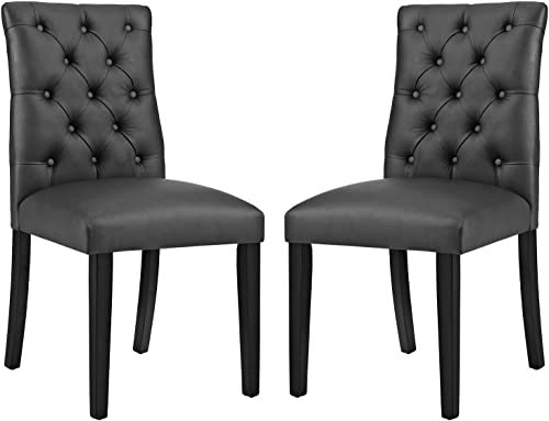 Modway Duchess Modern Tufted Button Faux Leather Upholstered Parsons Two Dining Chair