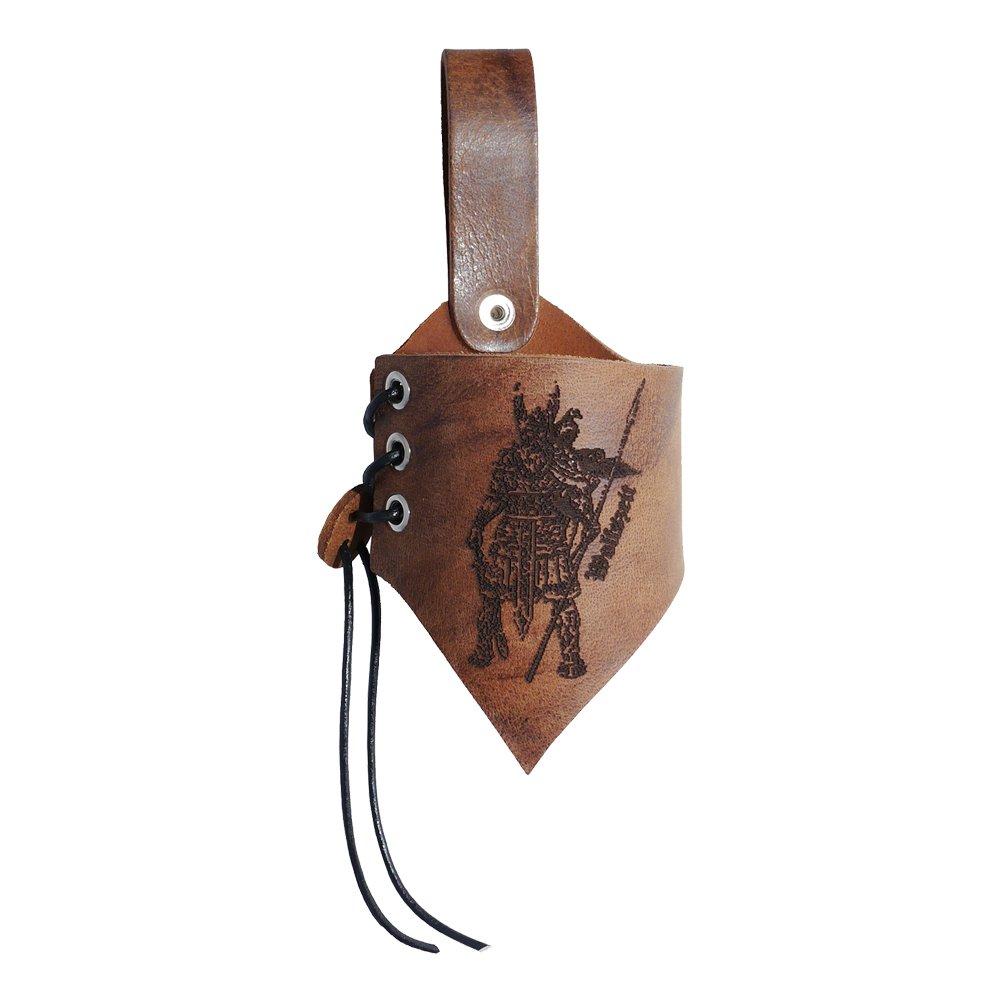 Hornhalter Asgard graviert mit dem Motiv Odin aus braunem Leder in used-look verschiedene Gr/ö/ßen