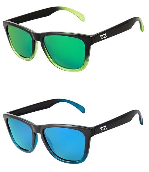 Pack 2 Gafas de Sol Polarizadas Hombre Mujer - Moda Sport y Fashion - Lentes 1.1 mm (Azul) … (Azul - Verde, 45)