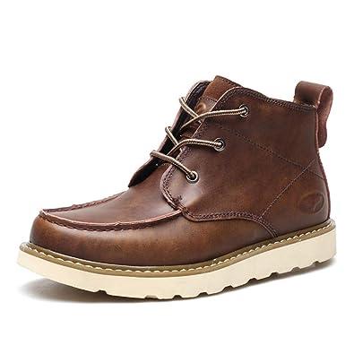1225891bb89108 Feidaeu Bottines Courtes Hommes Desert Boots Plate-Forme Lacets Cuir Casual  Chaussures de Travail Bottes