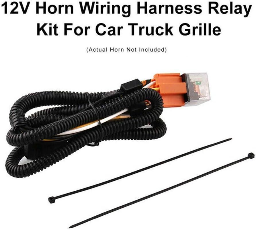 DDgrin Car Horn Wiring Speaker Wire Connectors Momentary Speaker Harness Relay Kit for Car Truck Grille Blast Tone Horns 12V
