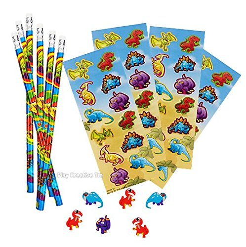 Dinosaur Party Stickers - Dinosaur Stickers, Pencil and Erasers Stationery Sets - Play Kreative TM (DINOSAUR )