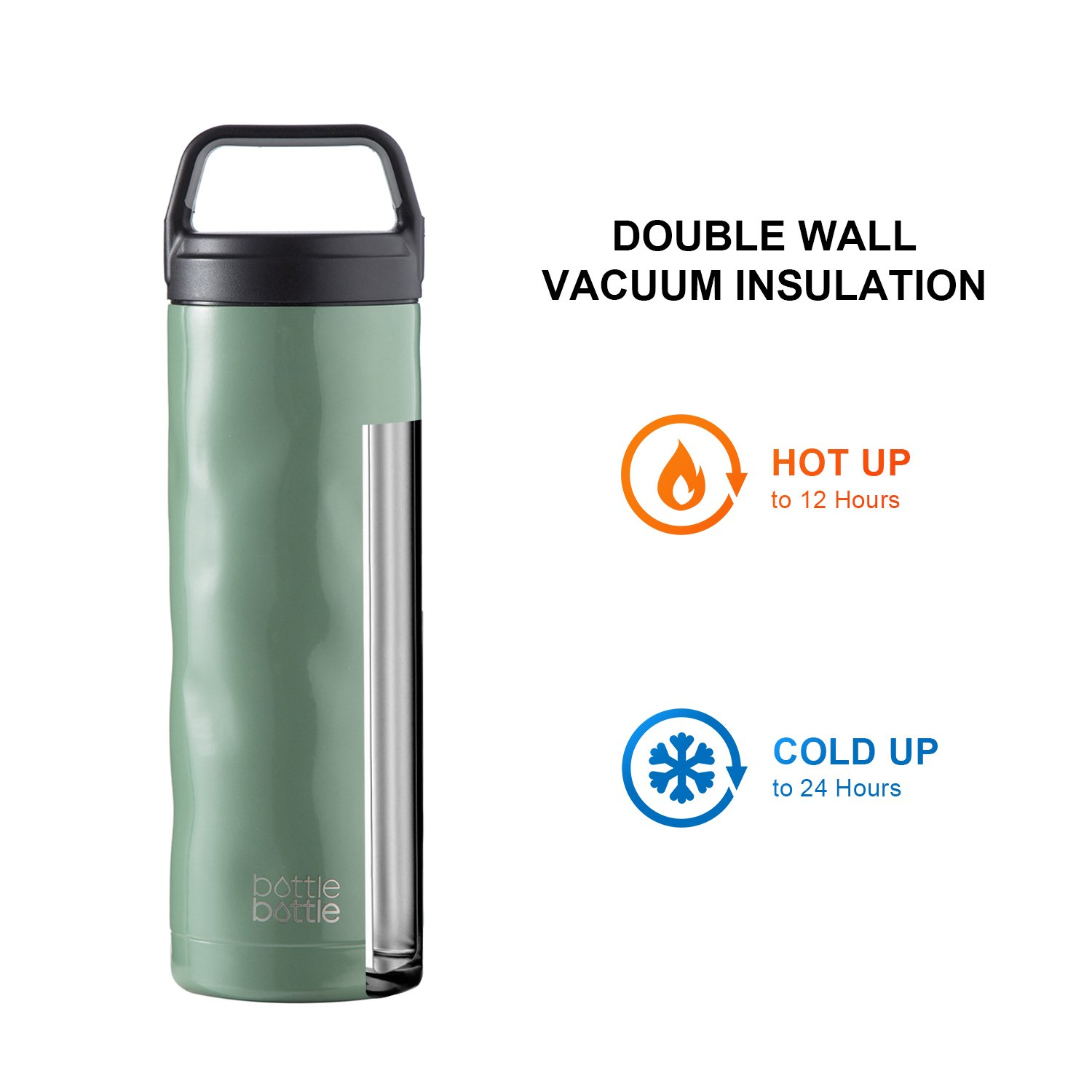 18oz Wide Mouth Double Walled Water Flask for Hot /& Cold Drinks Bottlebottle Crash Bottle Vacuum Insulated Stainless Steel Water Bottle BPA Free with Leak Proof Sports Cap