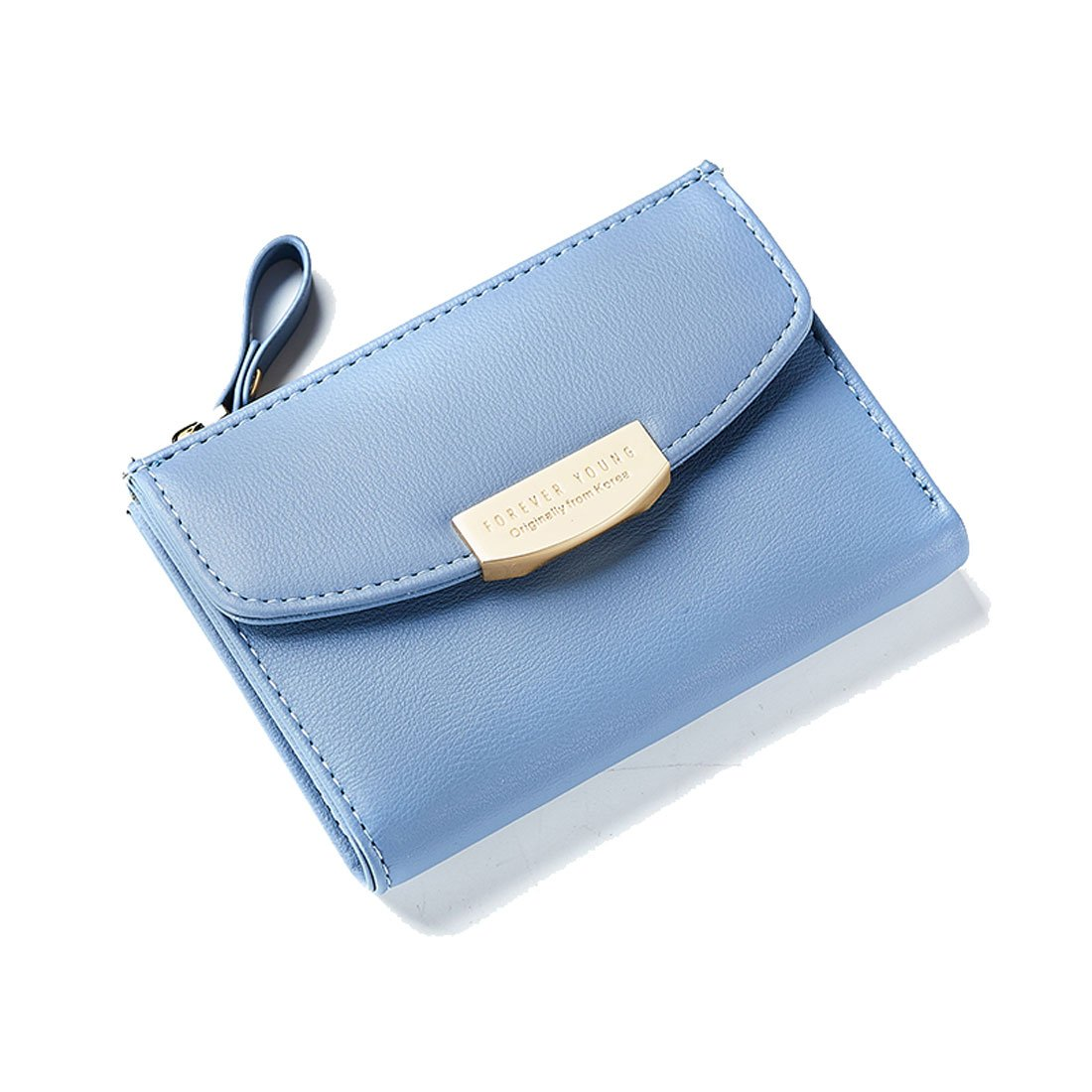 Women Teengirls Leather Wallet Small Compact Bifold Pouch Mini Purse Credit Card Case Houlder Coin Zipper Pocket Blue