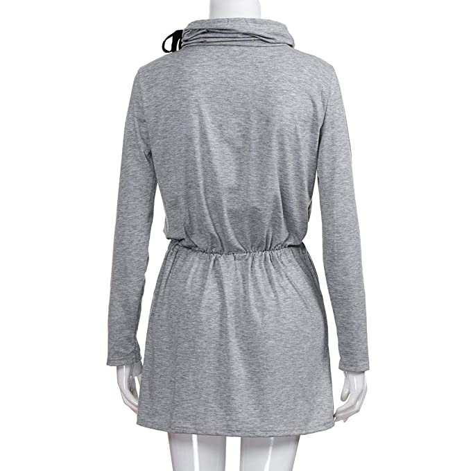 ... De Noche Verano Tallas Grandes, Vestido De Encaje con Cordones De Cintura Alta De Cuello Alto De Mujer Vestido Mini Vestido Casual: Amazon.es: Ropa ...