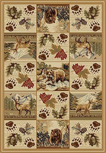 Southwestern Great American Outdoors and Wilderness Cabin Area Rug with Deer Grizzly Bears Pine Cones and Snow Capped Mountains 768 5 X7