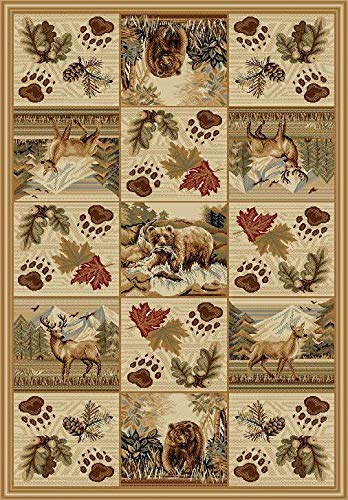 Southwestern Great American Outdoors and Wilderness Cabin Area Rug with Deer Grizzly Bears Pine Cones and Snow Capped Mountains 768 (5'X7')