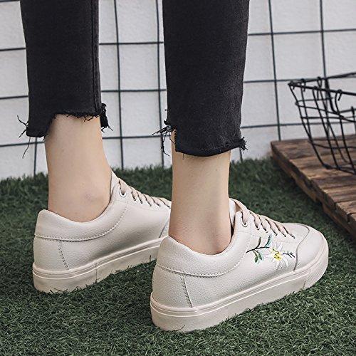 Broderie Fleur Femme Chaussures Casual amp;G Sneakers NGRDX Baskets Femme UTqtgxOn