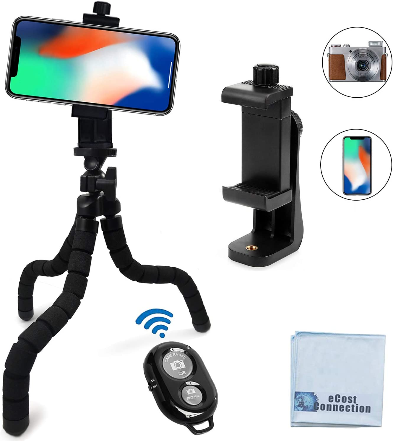 """Acuvar 10"""" inch Flexible Tripod with Quick Release + Universal Rotating Mount for All Smartphones + Wireless Remote Shutter for Smartphones + an eCostConnection Microfiber Cloth"""