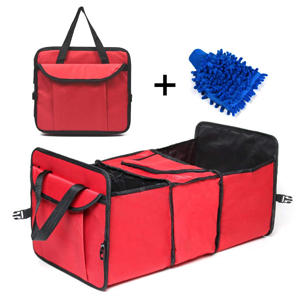 Melzoon Car Trunk Organizer Durable Collapsible Cargo Storage Container Waterproof Heavy Duty Bin and Carrier with Foldable Lid Pockets /& 3 Compartments for SUV A Chenille Car Cleaning Gloves for Free
