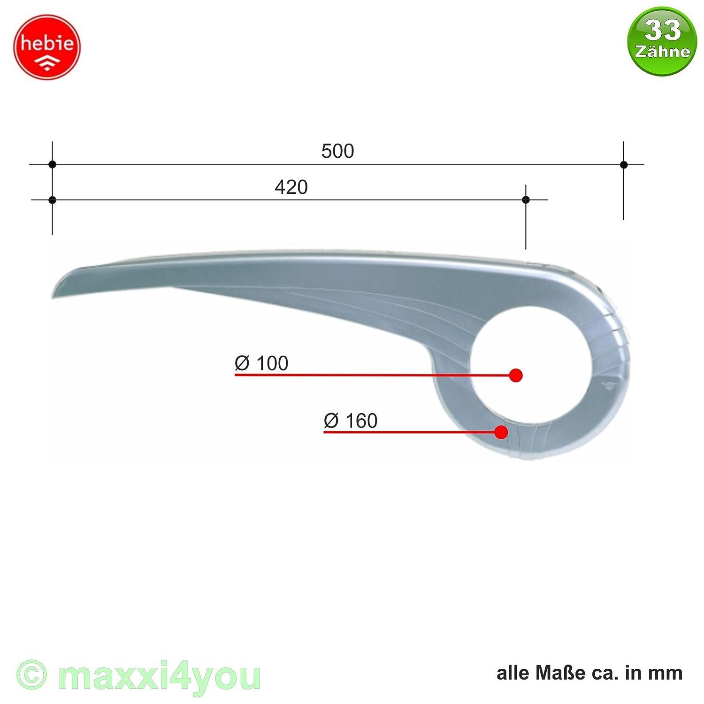 Hebie 01090107-Si Fahrradkettenschutz 340-E2 Garde de Cha/îne Plastique 33 Dents Argent