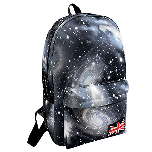 1d1e8e5889 Motop Unisex Galaxy Pattern Travel Backpack Canvas School Bag (black)