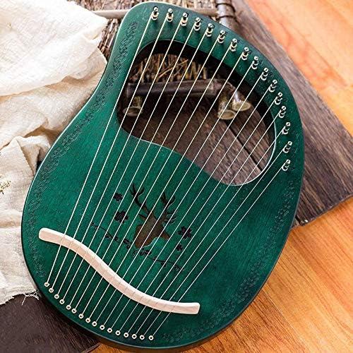 TOOGOO Lyre Harp 16 String Harp Heptachord Mahogany Lye Harp with Tuning Wrench for Music Lovers Beginners,Dark Green
