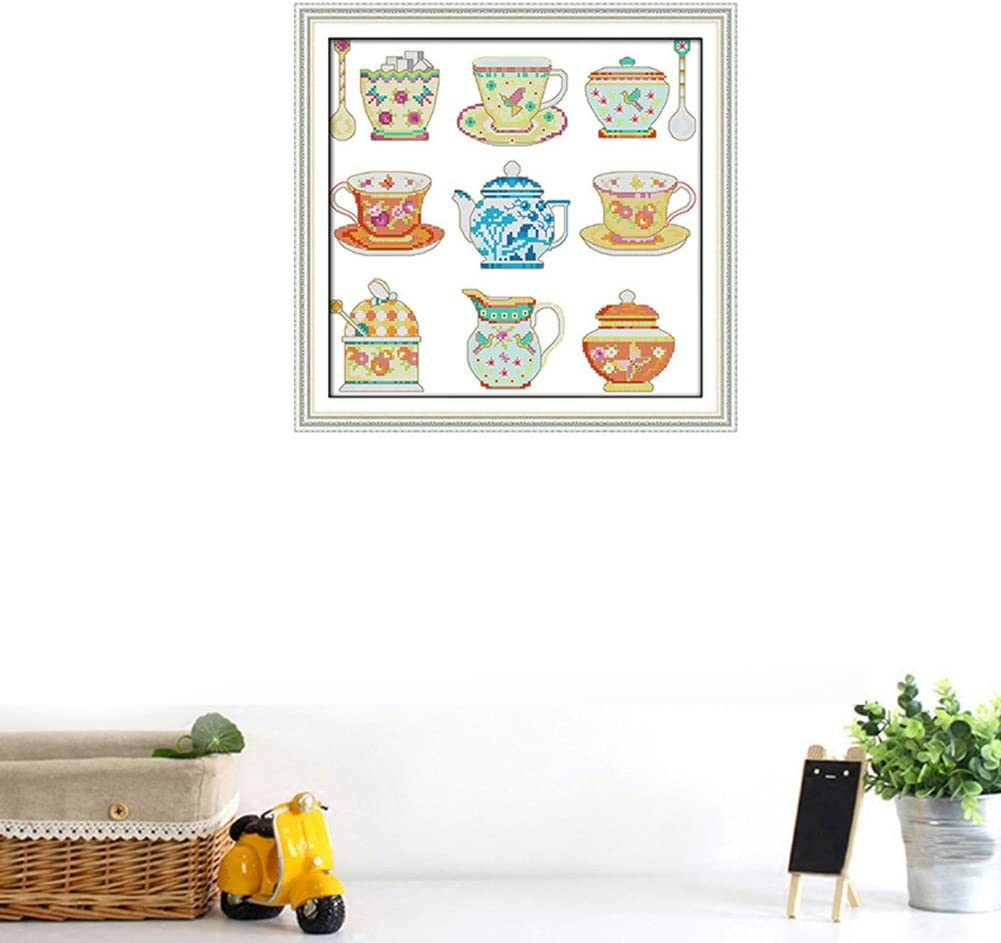Teaware Stamped Cross Stitch Kits for Beginners Pre-Printed Needlecrafts Counted Cross Stitch