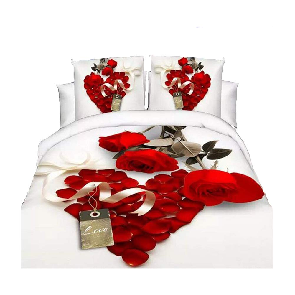 Floral 3D Effect Complete 4Pcs Bedding Set Duvet Cover,Fitted Sheet /&Pillowcases