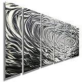 Large Silver Water Inspired Metal Wall Art - Contemporary Metal Wall Art Decor Sculpture - Ripple Effect By Jon Allen