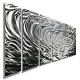 Large Silver Modern Metallic Wall Sculpture With Rain-Drop Inspired Abstract Etchings - Home Decor, Home Accent, Contemporary Metal Wall Art - Ripple Effect By Jon Allen