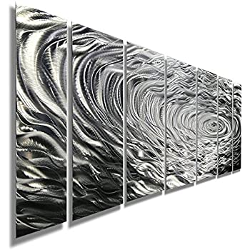 Statements2000 Large Silver Modern Metallic Wall Sculpture with Rain-Drop Inspired Abstract Etchings - Home Decor, Home Accent, Contemporary Metal Wall Art - Ripple Effect by Jon Allen
