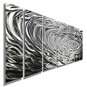 large silver water inspired metal wall art contemporary metal wall art decor. Black Bedroom Furniture Sets. Home Design Ideas