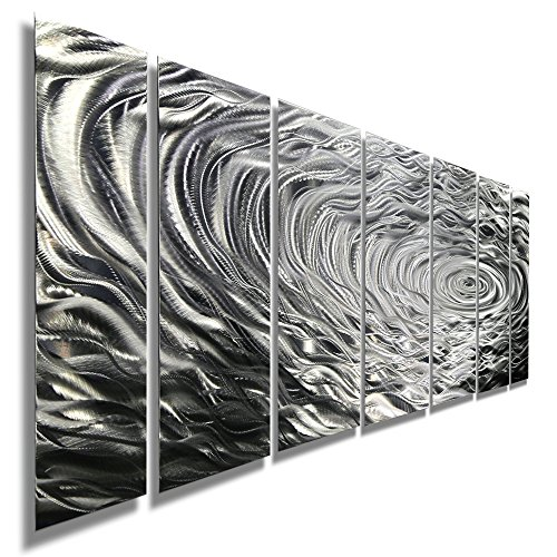 Large Silver Modern Metallic Wall Sculpture With Rain-Drop Inspired