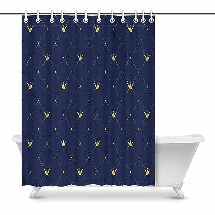 InterestPrint Retro Navy Blue Pattern Gold Crown Shower Curtain Waterproof Fabric Bath Decor Art