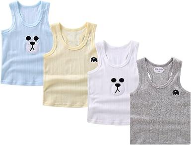 NEW Boys 4 Pack Cotton Vest Top T-Shirt Sleeveless Summer Bundle Kids Age 6-15