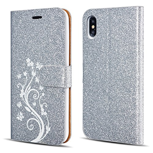 UEEBAI Case for iPhone X XS,Luxury Bling Glitter Case [Magnetic Closure] [Card Slots] [Kickstand] PU Leather Flip Wallet Cover Case with Elegant Flower Patterns Printing for iPhone X/XS - Silver