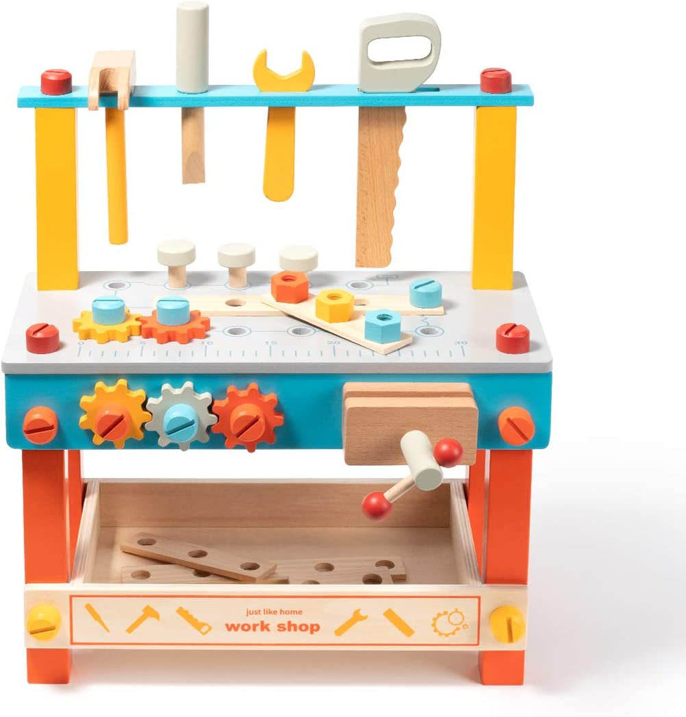 ROBUD Wooden Play Tool Workbench Set for Kids Toddlers, Construction Tool Playset Toys Gift for Boys Girls