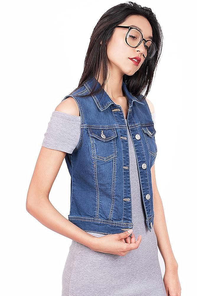 Wax Denim Women's Classic Denim Vest w Flip Pockets