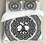 Celtic Duvet Cover Set King Size by Ambesonne, Native Celtic Tree of Life Figure Ireland Early Renaissance Artsy Modern Design, Decorative 3 Piece Bedding Set with 2 Pillow Shams, Black White