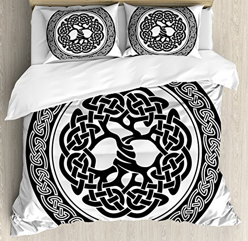 Ambesonne Celtic Duvet Cover Set King Size, Native Celtic Tree of Life Figure in Ireland Early Renaissance Artsy Modern Design Theme, A Decorative 3 Piece Bedding Set with 2 Pillow Shams, Black White