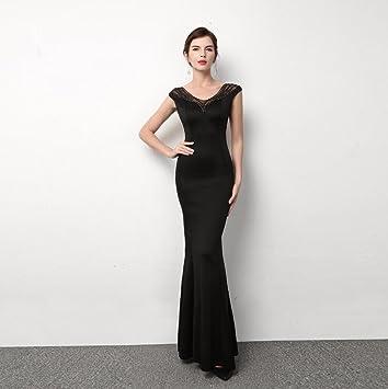 WBXAZL Vestido Negro, Vestido Negro, Delgado Vestido de Noche, Vestido, Vestido de