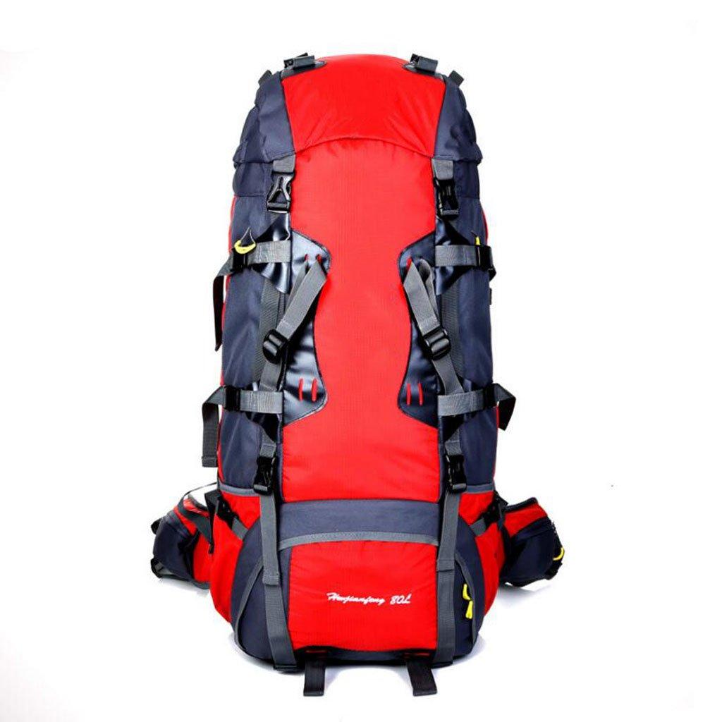 JBHURF Große Kapazität 80L Outdoor-Bergsteigen Tasche professionelles Tragesystem Gelb (Farbe : ROT)