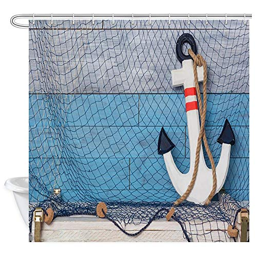 (KOTOM Nautical Decor Shower Curtain, Nautical Theme Rusty Anchor and Rope, Polyester Fabric Bath Curtains with Hooks 69W X 70L Inches )