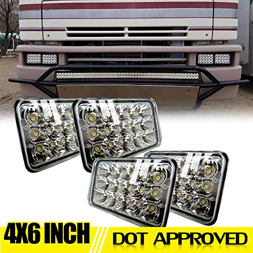 (DOT 4X6 Rectagular LED Headlight Assemblies Replace H4651 H4656 Sealed Beam Headlamps KW Kenworth T-600 W900 T800 Truck Peterbilt 379 GMC topkick Dodge Dakota John deere 4wd Pontiac trans am chevy RV)