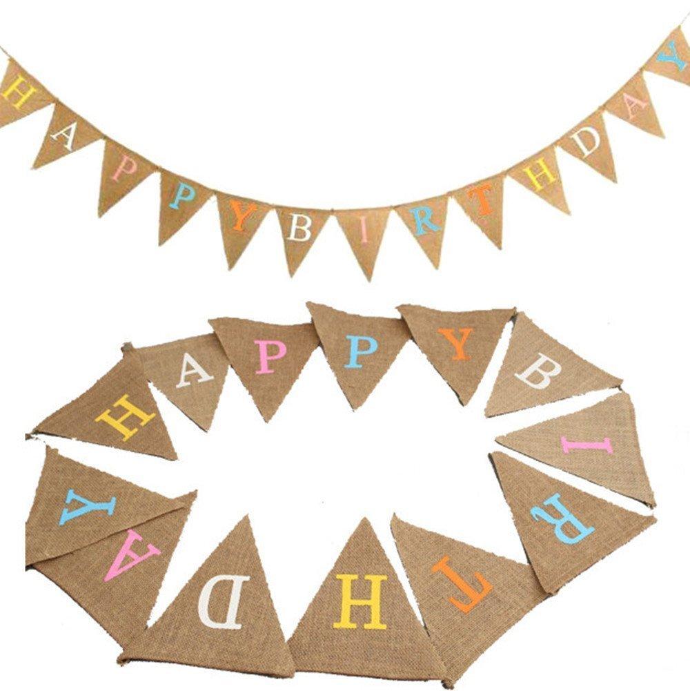 Rustic Happy Birthday Hessian Fabric Bunting Flag Shabby Birthday Party Flags