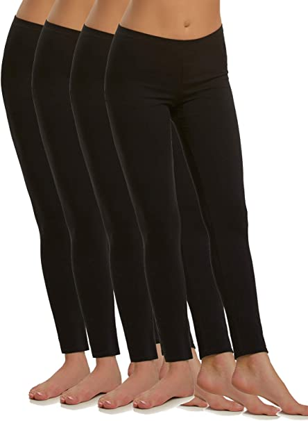Felina | Cotton Modal Lightweight Legging | 4-Pack | Yoga Pants | Mid Rise