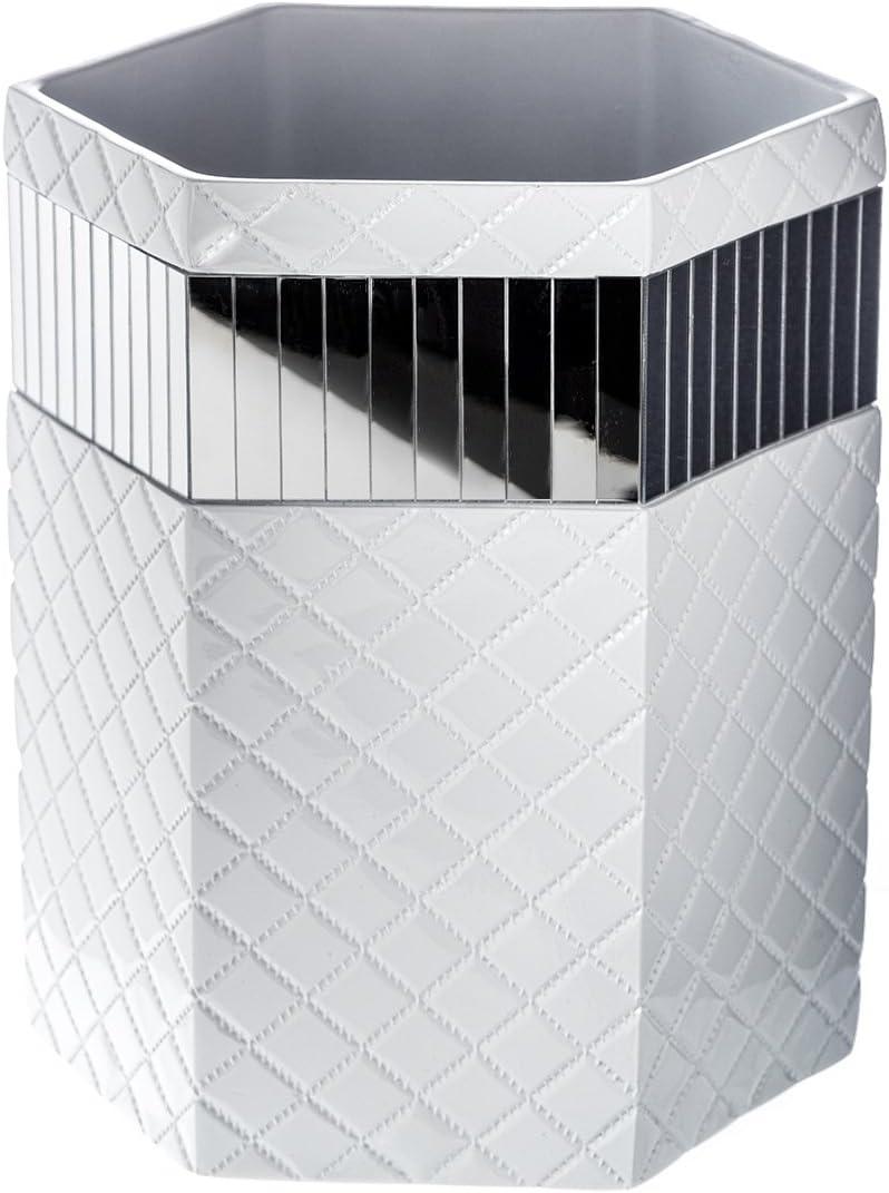 "Quilted Mirror Bathroom Trash Can (8.1"" x 7 x 9.8"") – Decorative Wastebasket- Durable Waste Paper Baskets Design- Space Friendly Bath Rubbish Dust Bin- for Elegant Shower Décor"